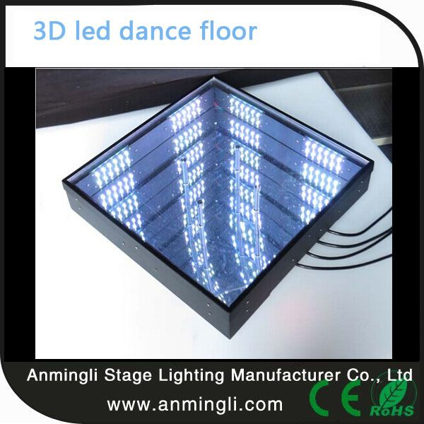 3D mirror led dance floor for sale for party wedding show 1. Voltage:AC90-240V, 50/60Hz 2. Power Consumption: 15W 3. Light Source:Φ5DIP 4. LED Qty:(pcs/unit)96pcs RGB3IN1 5. Color: RGB mixing 6. Control: DMX, master slave, sound actived, auto mode 7. Life Span:≥30,000 hours 8. Housing Color: White 9.  Surface Cover: glass 7. Switch Power Supply: Built-in and auto switching     8. N.W.: 8 kg 9. G.W.: 11.5 kg 10. Carton size: 503* 503 *158mm