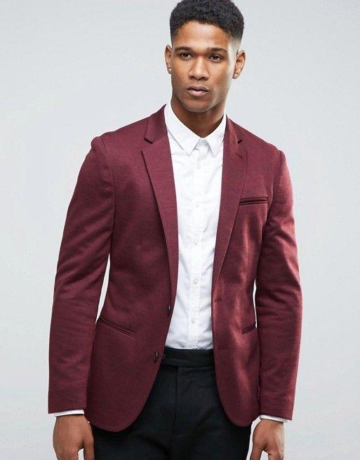 ASOS | ASOS Super Skinny Jersey Blazer with Fleck Detail in Burgundy