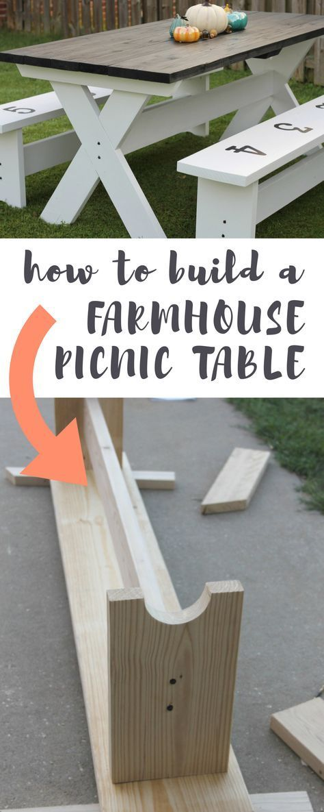 How to Build a Farmhouse Picnic Table | Picnic tables ...