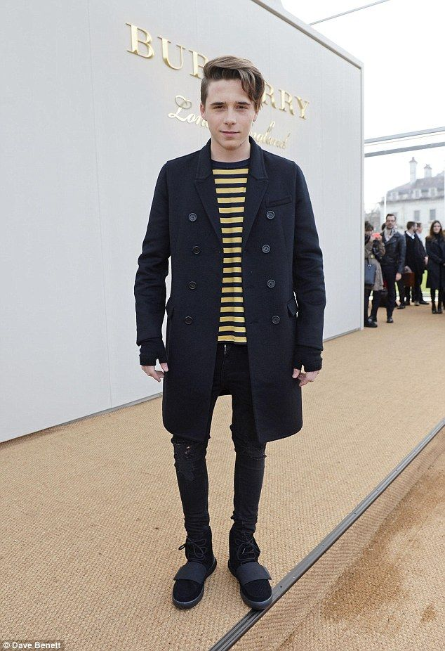 Fashionable teen:Brooklyn Beckham, Rafferty Law and Gabriel-Kane Day-Lewis looked truly like stars in their own right as they turned out for the Burberry Menswear A/W16 show in London on Monday