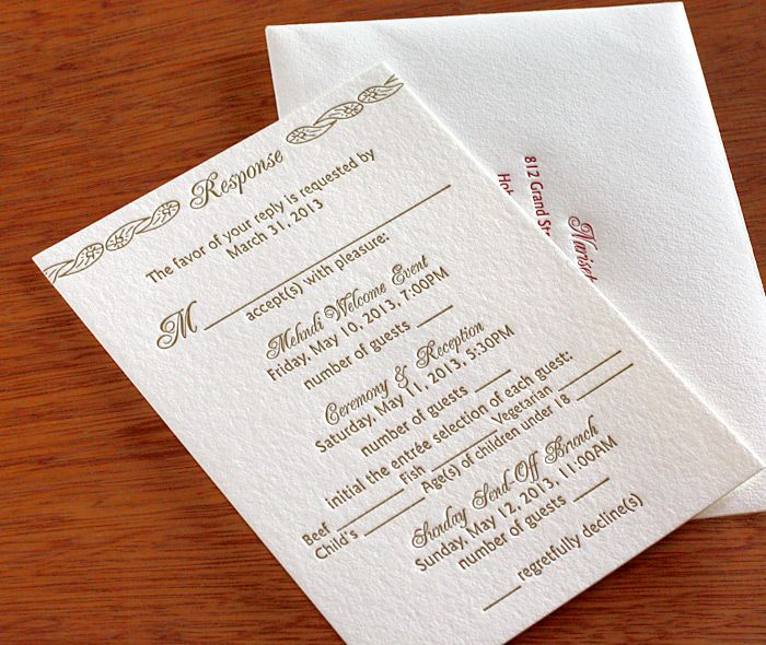 Baraat letterpress rsvp card and printed envelope.