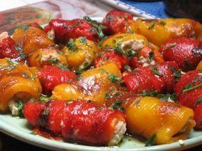 involtini di peperoni ripieni al tonno (peppers stuffed with tune)
