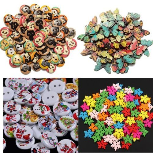 25-100X-Wooden-Snowflake-Butterfly-Cat-Flower-Elephant-Buttons-Sewing-DIY-Craft