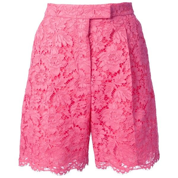VALENTINO lace shorts ($1,980) ❤ liked on Polyvore featuring shorts, lace, valentino, lacy shorts, pink lace shorts, lace shorts and pink shorts