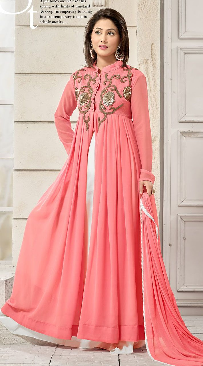 Trendy Pink Georgette T.V Actress Akshara Gown Style Kameez