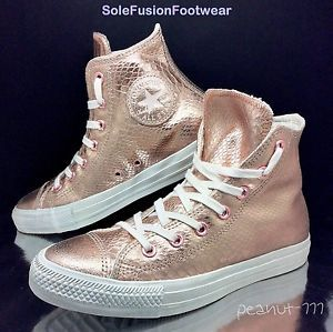 Converse-Womens-All-Star-Metallic-Pink-Trainers-Sz-6-Rose-Gold-Snake-US-8-EU-39   f7fc797344