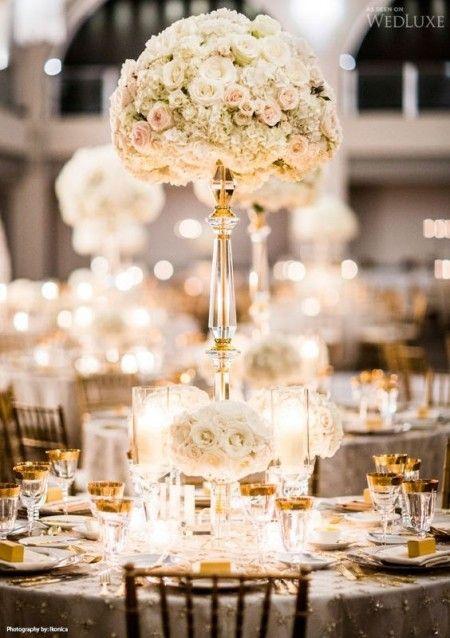 Inspiration mariage de luxe : la décoration - mariage blanc et doré