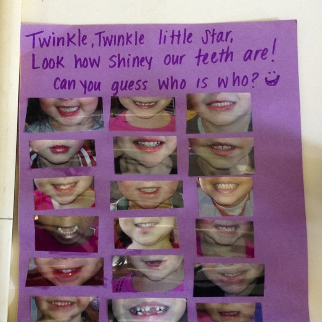 A fun smile guessing game we made during dental health week! - love the toothless smiles!