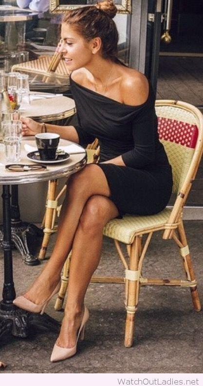 Paris cafe dress and nude pumps