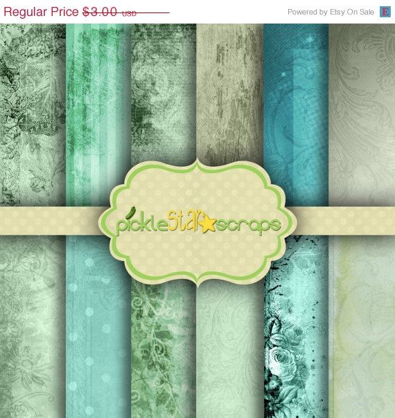 ON SALE Ocean Floral  12 Digital Scrapbook by PickleStarScraps