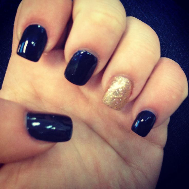Navy Blue And Gold Sparkle Nails!