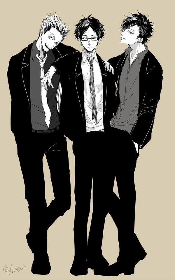I really love it when they're together, especially when Tsuki's with them :'> /// Kuroo, Bokuto, Akaashi