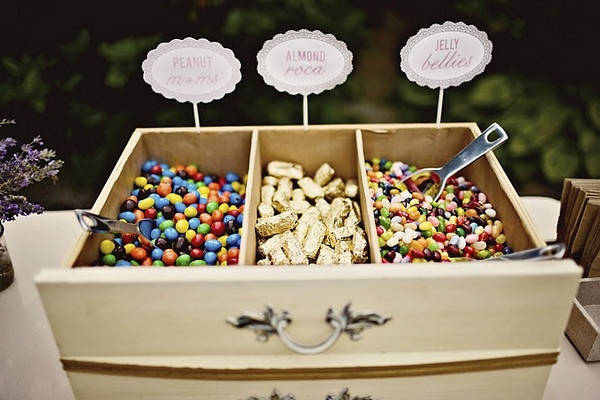 cute idea for desert bar at wedding, bachelorette party or engagement party.