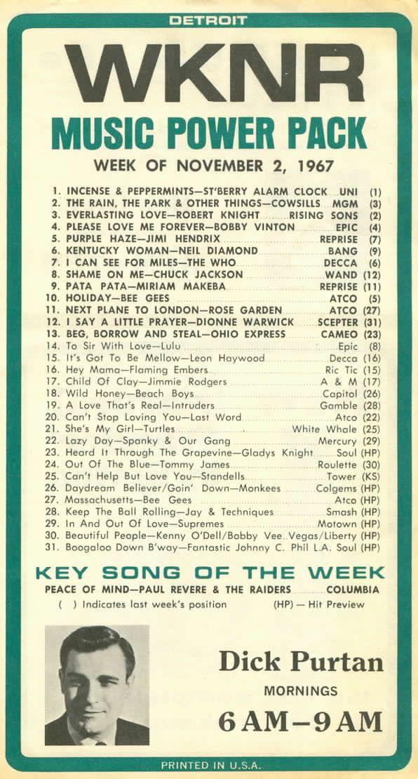 11-2-67 (Dick Purtan) | top 40 | Pinterest | Detroit and Playlists