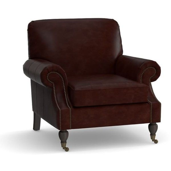 Pottery Barn Brooklyn Leather Armchair - Leather Chairs - Leather... ($1,599) ❤ liked on Polyvore featuring home, furniture, chairs, accent chairs, espresso, leather chair, patina furniture, colored furniture, pottery barn furniture and leather club chair