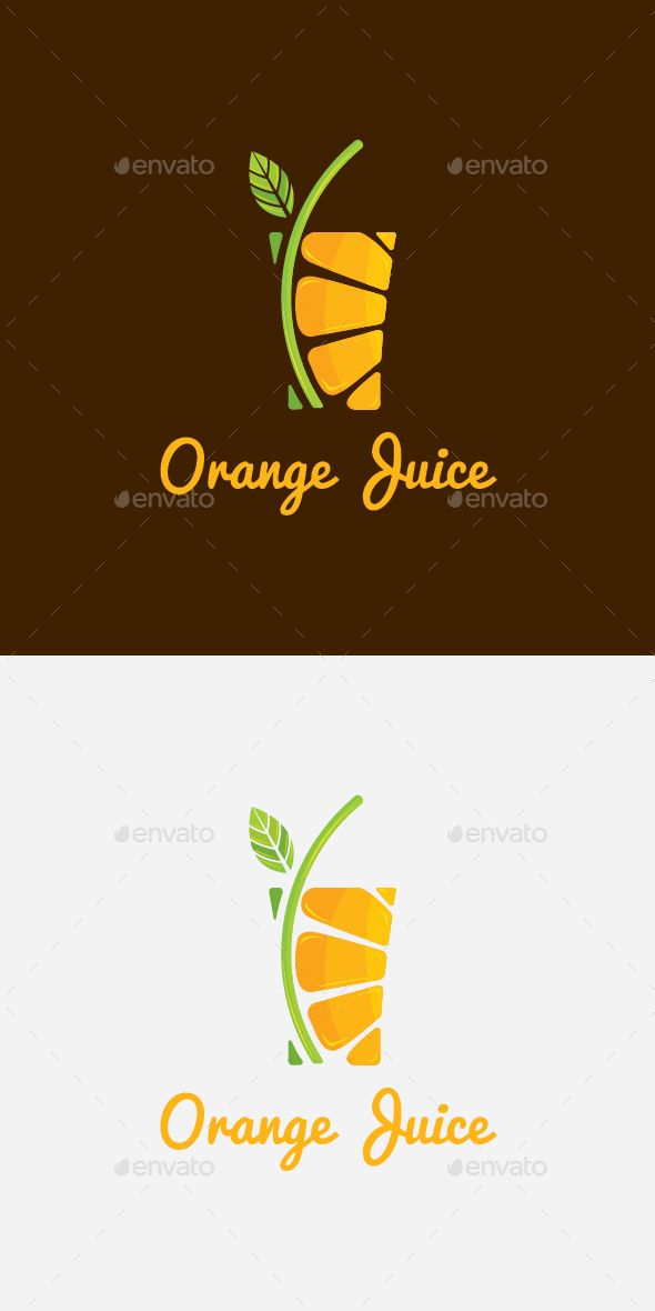 Orange Juice Drink Logo . I like this logo, it is very clear what the product is however not sure about the brown background. The white background portrays a fresher feel. RO