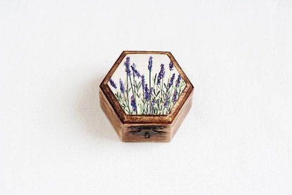 Wedding Ring Box, Ring Bearer Box, Ring Box, Rustic Ring Box, Geometric Ring Bearer, Ring Holder, Box With Moss, Lavender Wedding, Provence