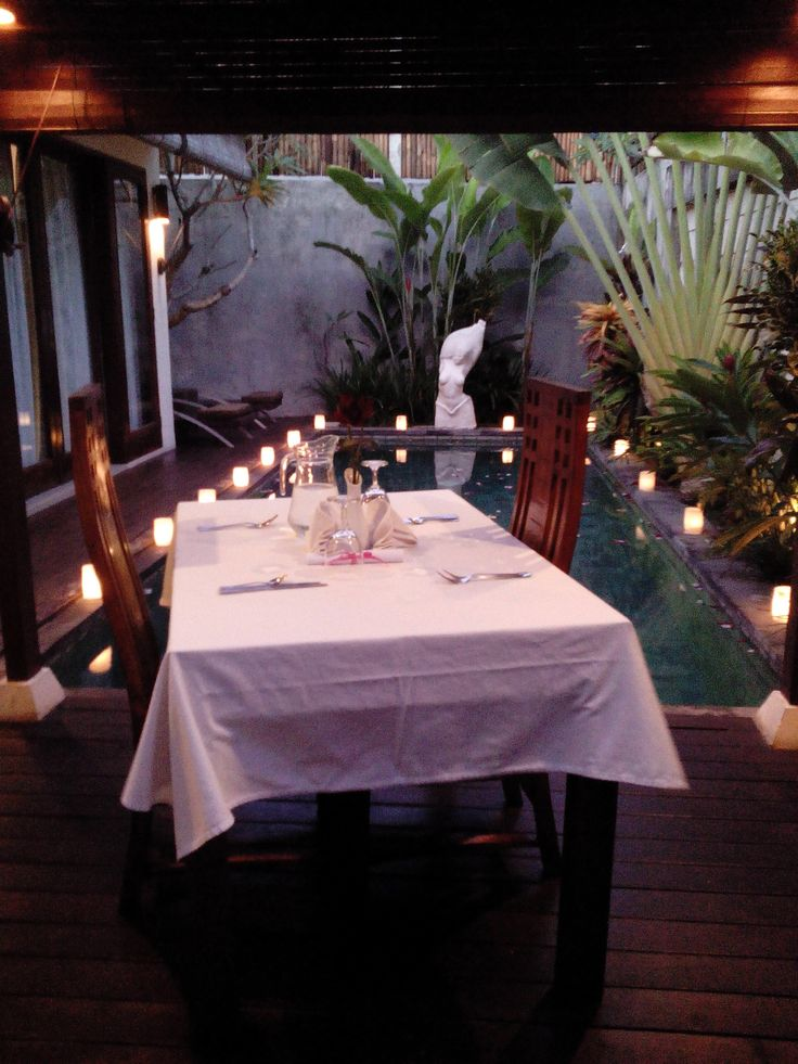 Romantic Candle Light Dinner next to the pool