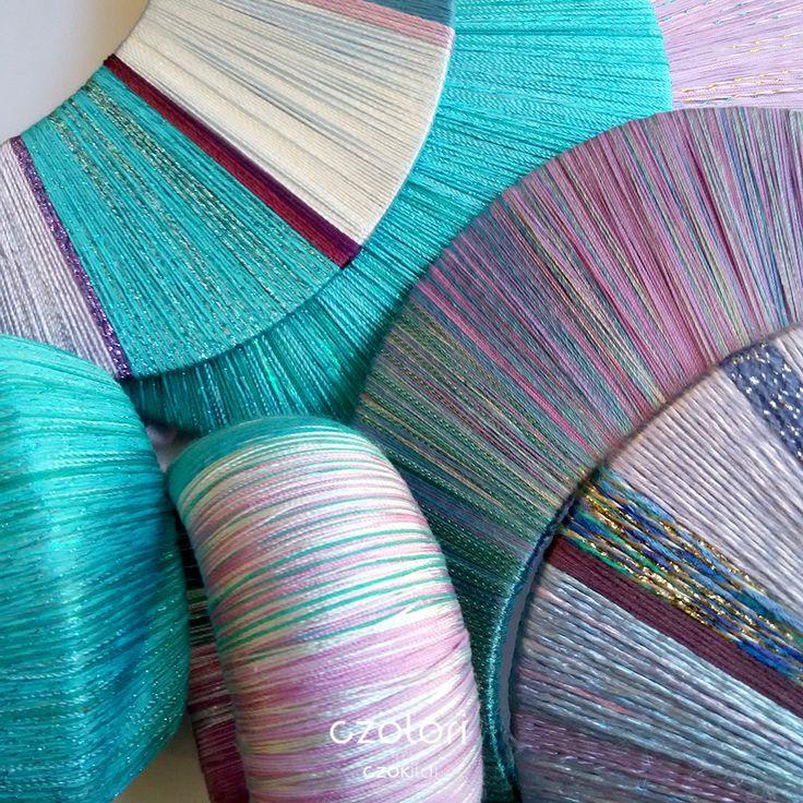 Turquoise rainbow, yarn wrapped jewellery by Czolori http://czokildihu.bigcartel.com/