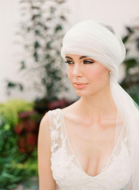 Turban style boho glam wedding veil with crystal d…Edit description