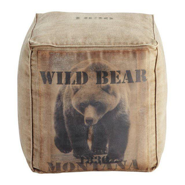 Pouf quadrato Montana con orso