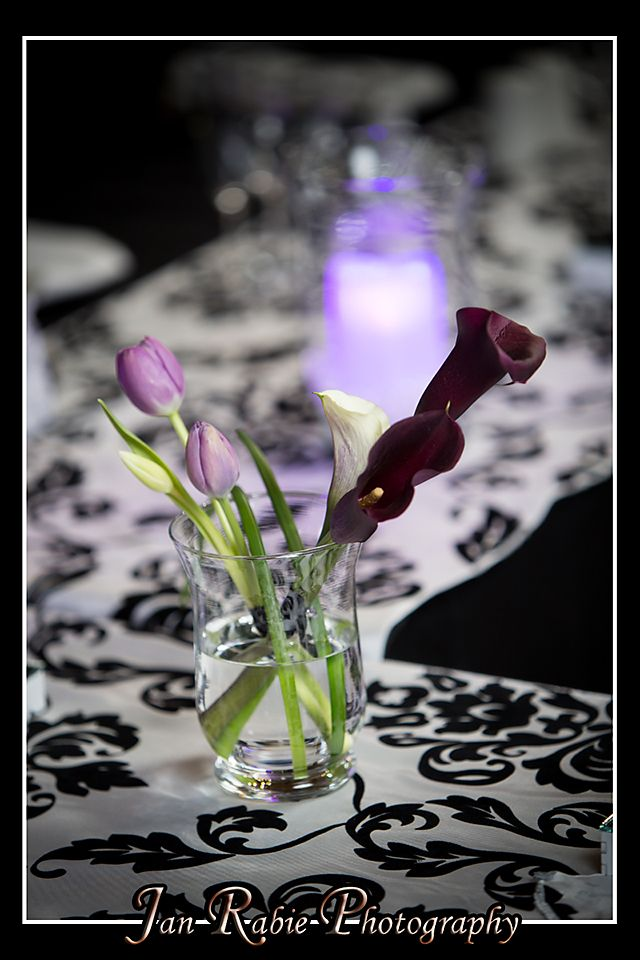 Calla Lilies, Tulips & Glass Hurricane Vases add so much elegance to an intimate formal wedding.