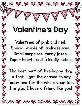 44946b1b451e0f65ff33bc5c4e51fac1 valentines day poems handwriting activities - VALENTINE'S DAY POEM + BONUS ACTIVITIES - TeachersPayTeache...: