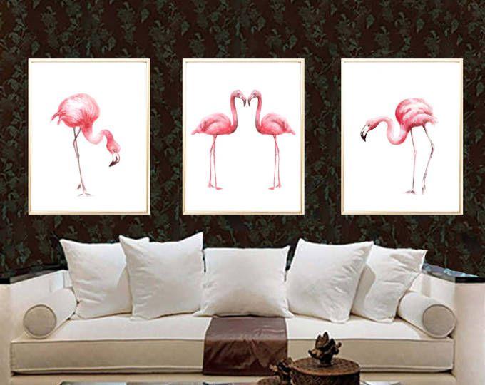 Flamencos rosados. Flamencos de acuarela. Arte de la
