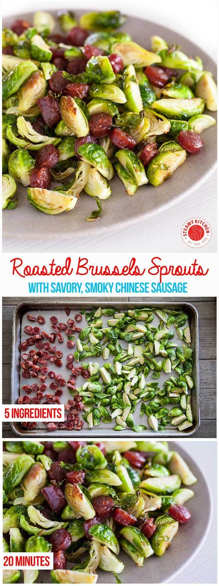 Savory-sweet and smoky Chinese Sausage roasted with Brussels Sprouts. 5 Ingredients, 20 minutes. ~ http://steamykitchen.com