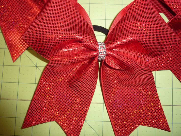 Holographic * RED *  Cheer Bow with Rhinestone Center  ~  You pick color by TheCheerBowBabe on Etsy