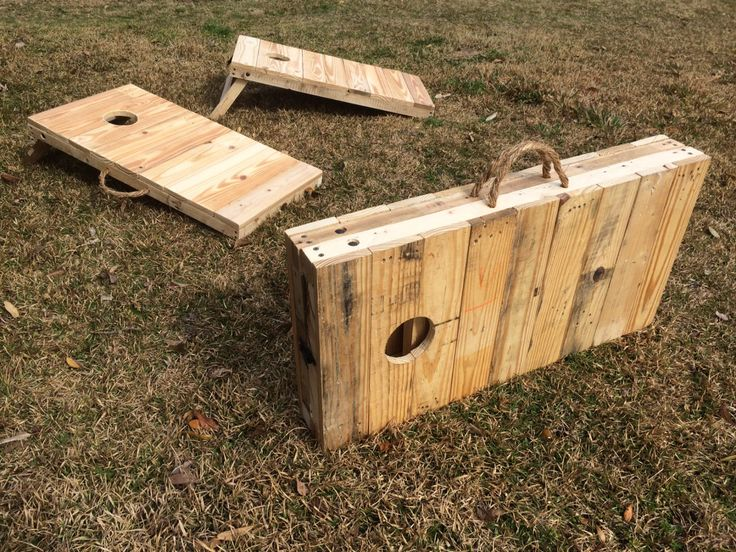 Rustic 2/3 Scale Cornhole Boards made from pallet wood by ThePalletEffect on Etsy
