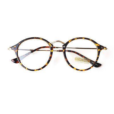 1920s Nerd Brille filigran rund Glasses Klarglas Hornbrille treber 25R10 Leopard