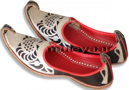 Silver Embroidery BHANGRA punjabi jutti shoes for MEN PJ9735