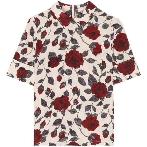 GANNI Elmira floral-print silk crepe de chine top found on Polyvore featuring tops, blouses, shirts, claret, floral print tops, ganni, relaxed fit tops, collar top and long tops