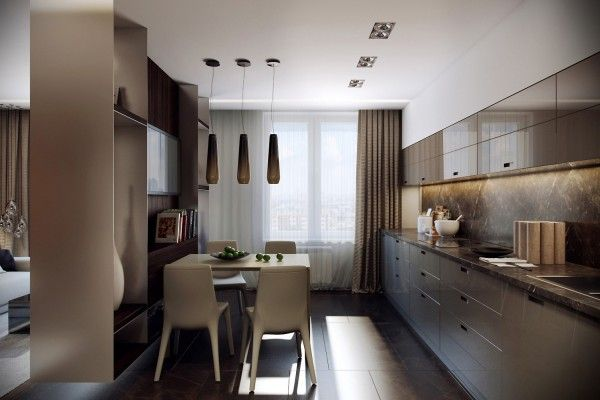 A small kitchen and its included dining area is not extravagant by any means, but the simple design is comfortable and welcoming for a family meal. The white molded chairs in place of wood or metal give the space a bit of whimsy.
