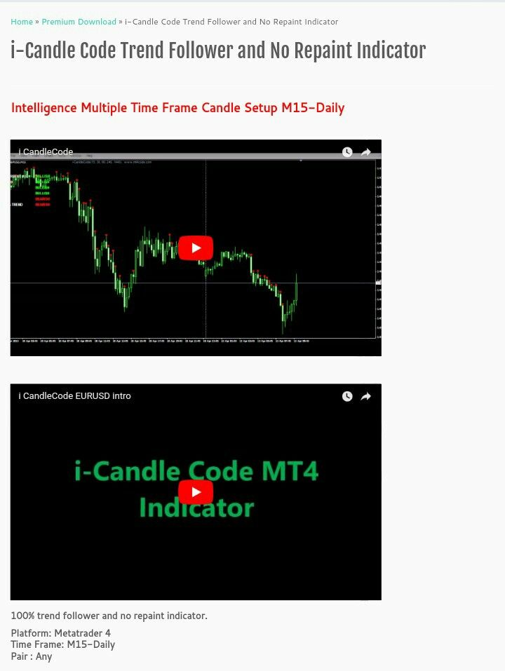 I Candle Code Trend Follower And No Repaint Indicator Intelligence