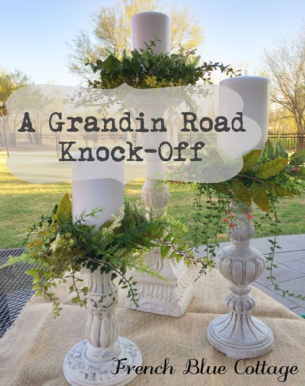 DIY:  How to Make Candle Rings for the Spring Table - this Grandin Road inspired project is very easy to make, using faux greenery and floral wire - via French Blue Cottage