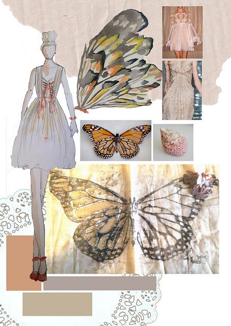 Katherine Haigh; layout, design, illustration, sketch, planning, fabric, colour, theme, inspiration. BTEC Fashion