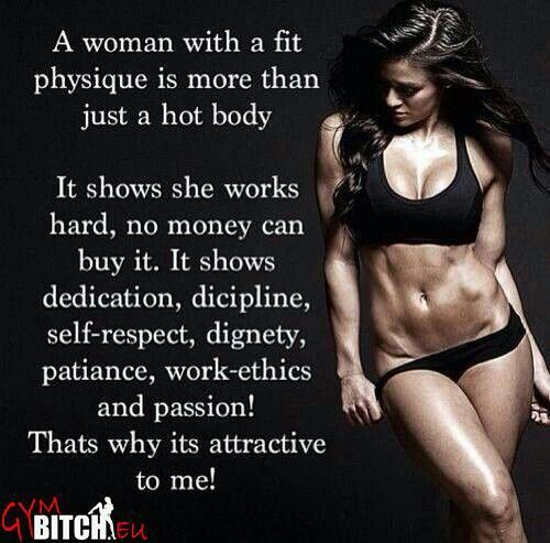 Work hard, change your lifestyle in order to be healthy & fit. Push yourself each day to reach your goal.  We alI need patience and dedication...Working out and eating right leads to a happier life!