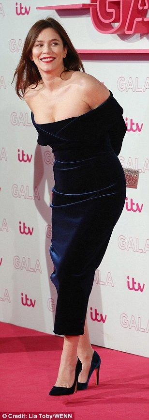 Blue-tiful!Anna Friel was also bang on trend, donning an off the shoulder velvet gown that flashed a hint of cleavage