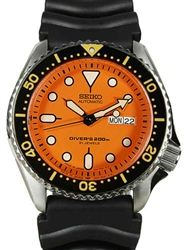 Seiko Automatic Dive Watch with Offset Crown and Rubber Dive Strap #SKX011J1