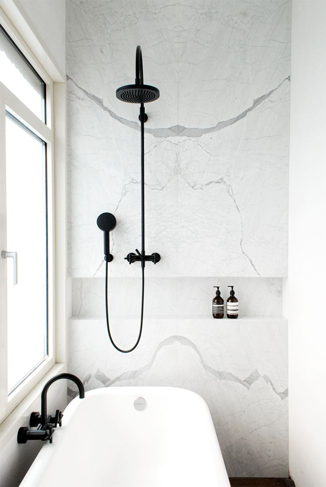 RH <3 black plumbing fixtures! Black & White Marble bathroom renovation via noglitternoglory.com