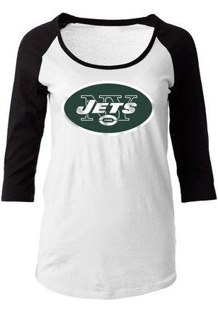 New York Jets Womens Primary Logo White Scoop Neck Tee