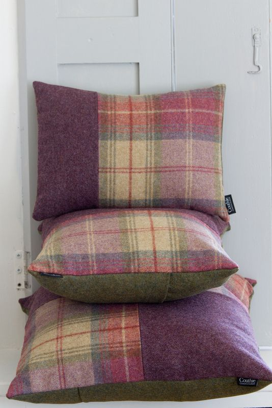 Couthie handmade tweed cushions in purple heather and mossy green.