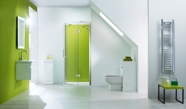 Bathroom fitted with opticolour lime green glass splashback and lime green wall panel, photo courtesy Roper Rhodes