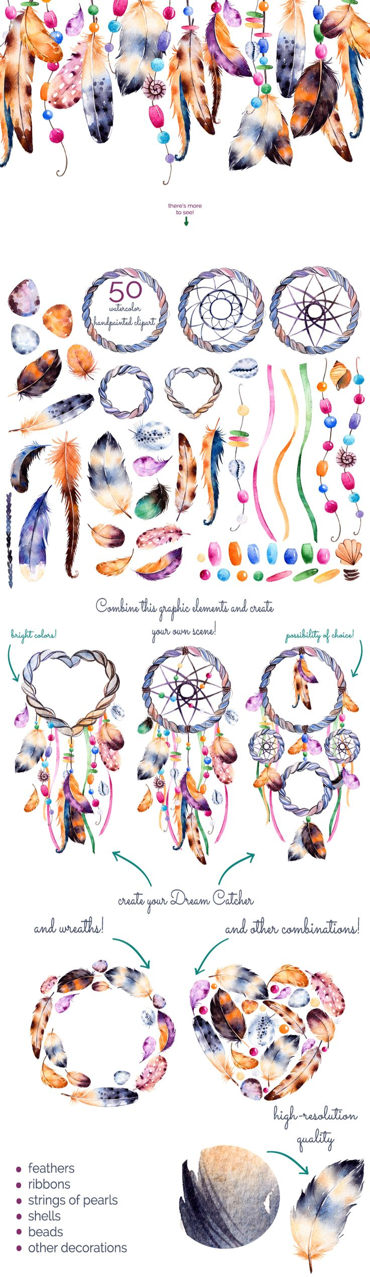 Feathers and dream catchers by Kate_Rina on @creativemarket