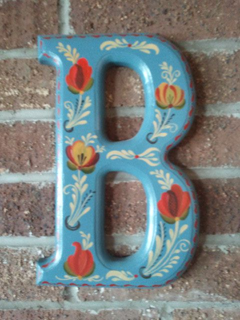 Norwegian Rosemaling Letter Plaque Rogaland or by craftswithgramma, $30.00