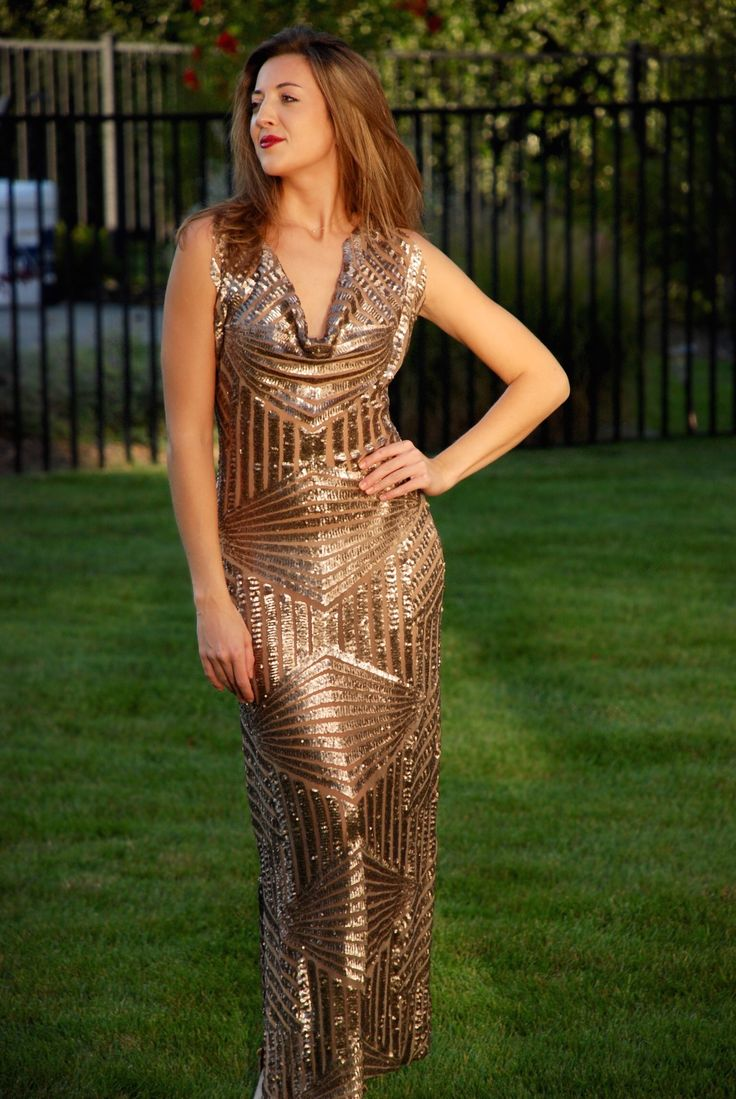 Golden brown sequence gown