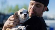 Bryan Jones holds onto a dog he saved from the raging wildfires after leaving Fort McMurray and assembling in Wandering River on May 6, 2016. REUTERS/Topher Seguin (© Topher Seguin / Reuters)