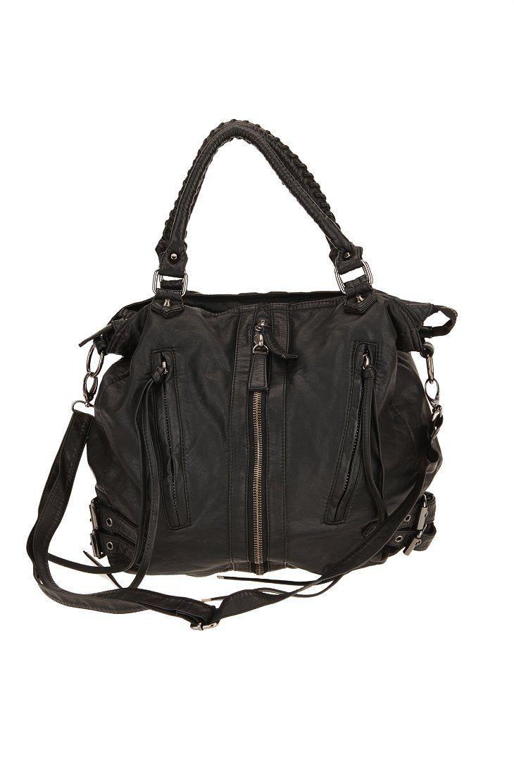 Deena & Ozzy Zip-Front Moto Hobo Bag